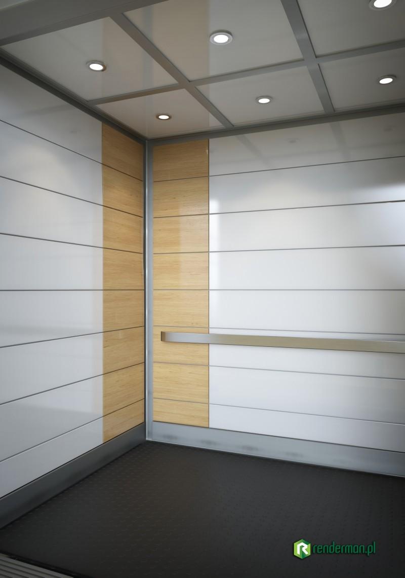 Elevator interior rendering and details, wizualizacja wnętrza, winda