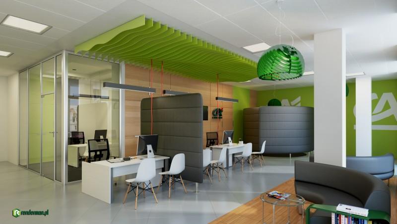 Wizualizacja wnętrza banku Credit Agricole