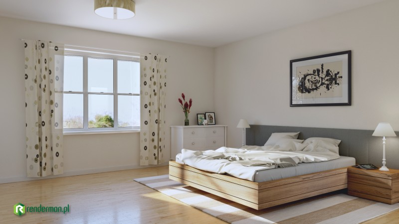 Bedroom rendering, wizualizacja sypialni