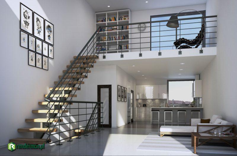Living room with mezzanine rendering, wizualizacja pokój z antresolą