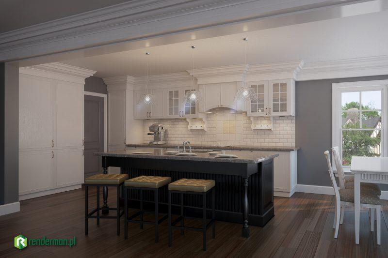 Wizualizacja kuchni w stylu klasycystycznym