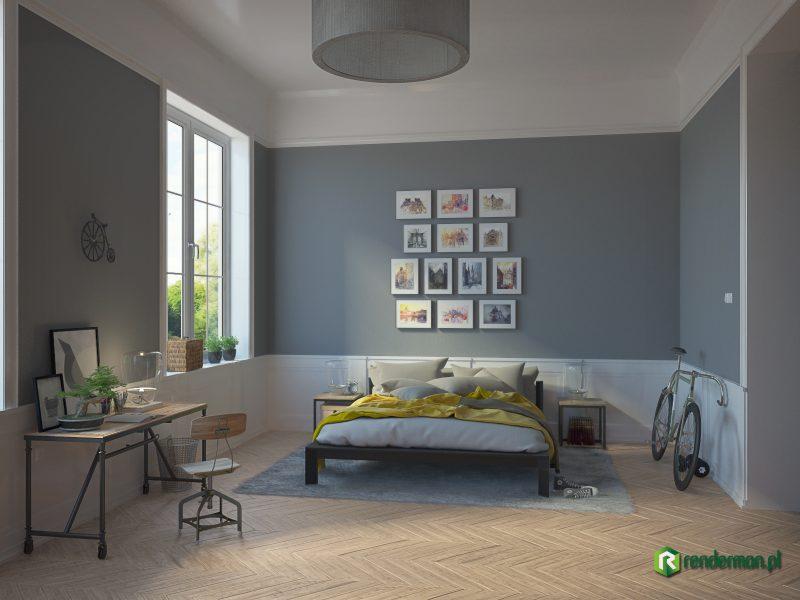 Wizualizacja szarej sypialni