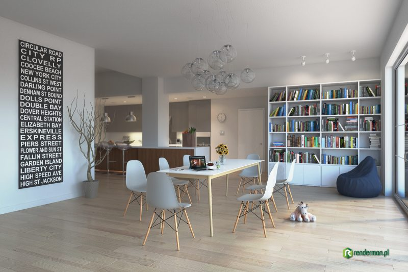 Living room with kitchen rendering