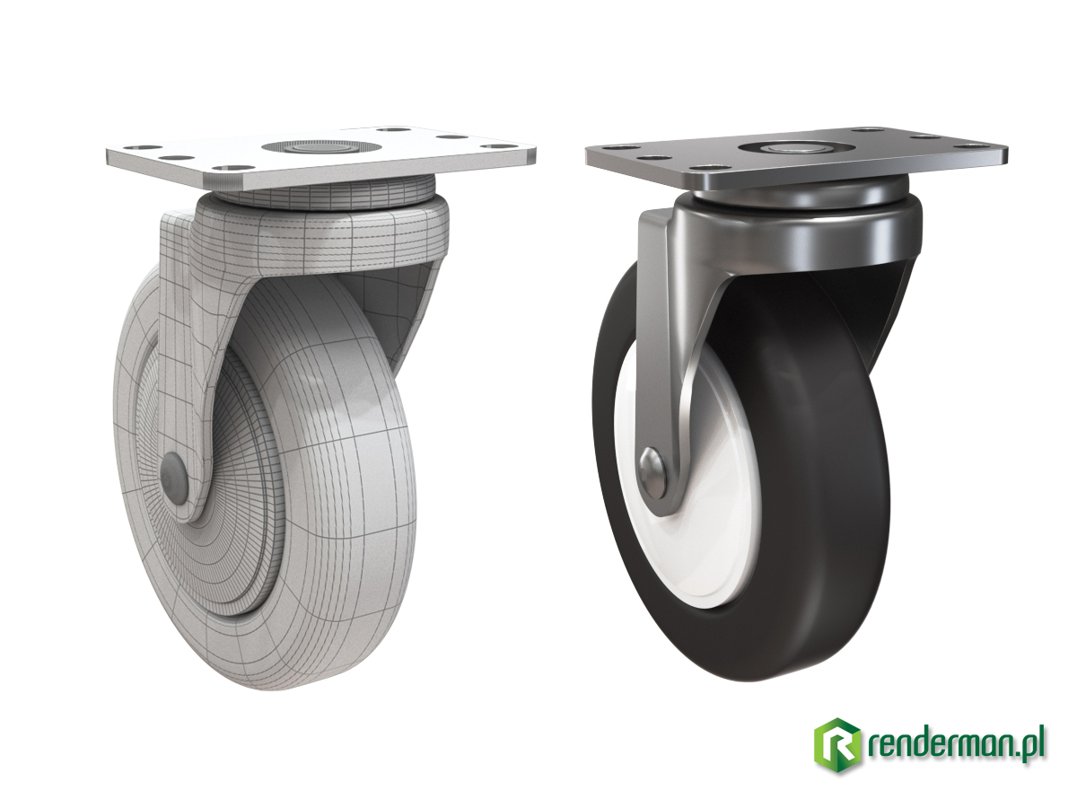 Ferniture wheel rendering, product rendering, rendering 3D