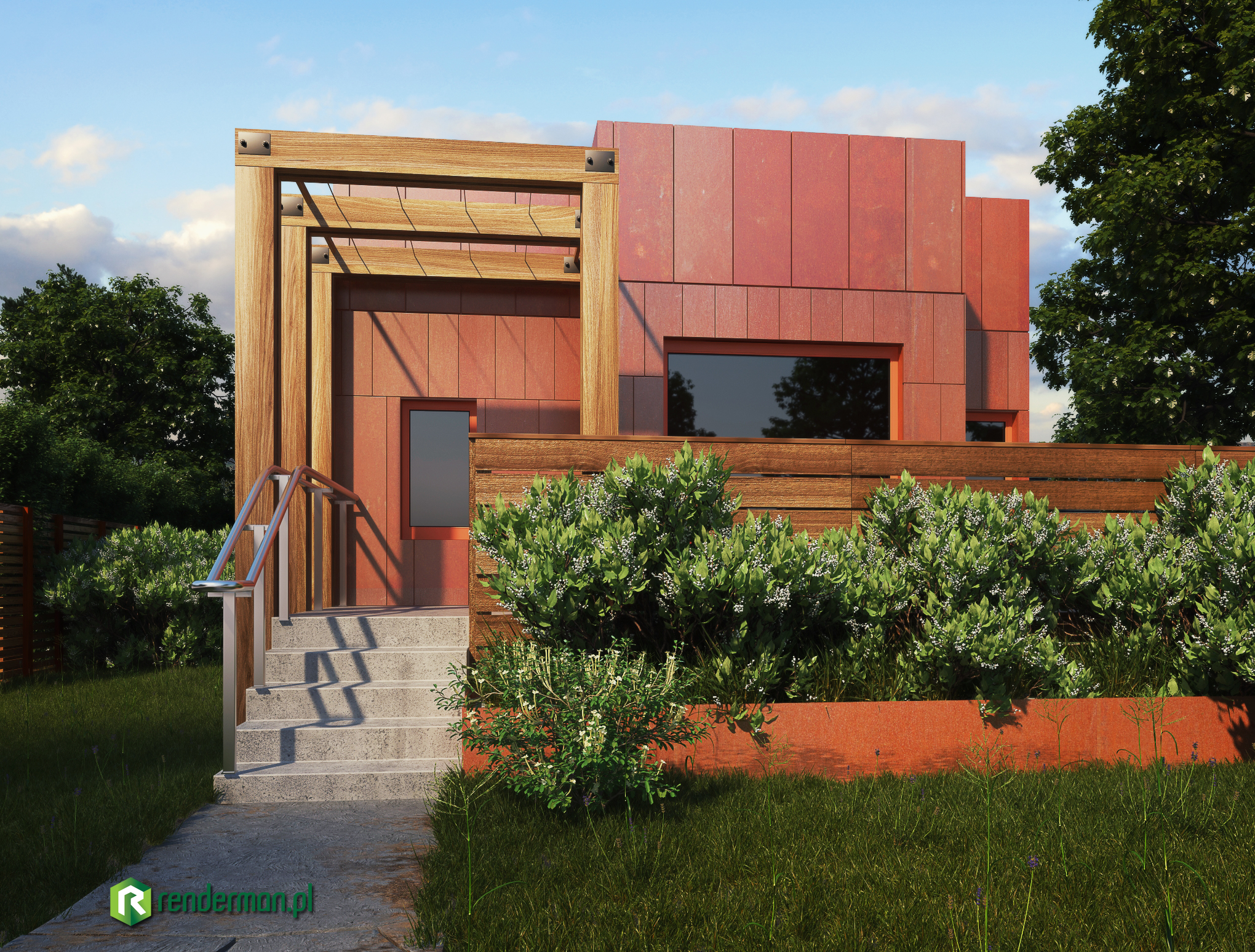 Rusty metal home rendering