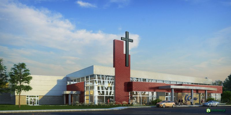 Conteporary church rendering