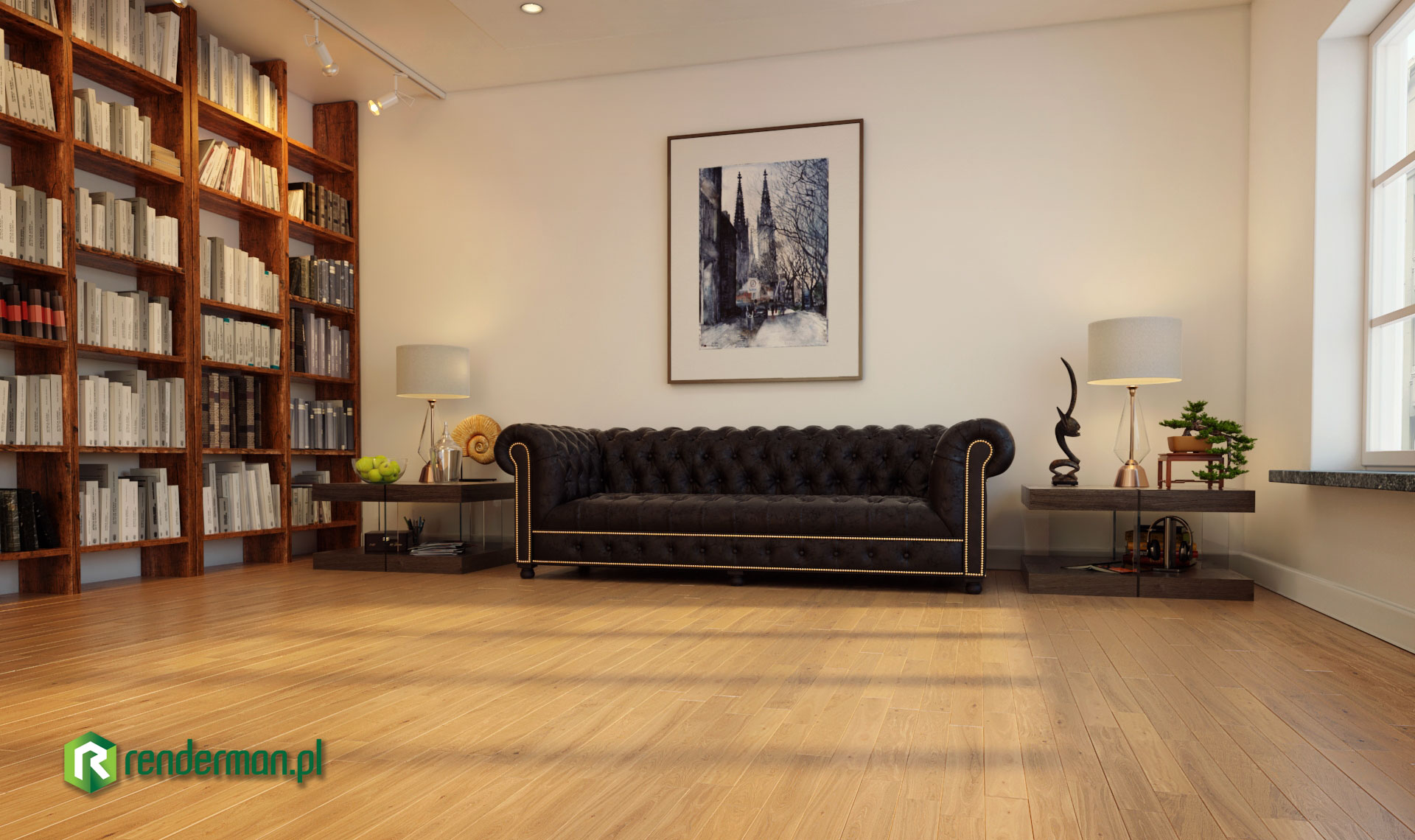 Library rendering, interior rendering , rendering 3D