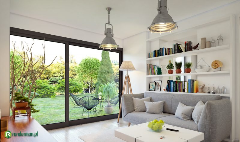 Living room with garden rendering